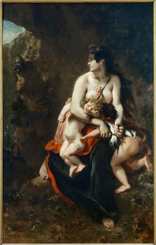 Eugène Delacroix, La furia di Medea, 1838, Palais des beaux-arts de Lille - Public Domain via Wikimedia Commons.