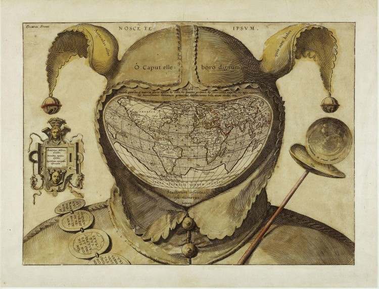 I tarocchi dei Visconti - Il mondo dentro a una testa matta, attribuito a Orontius Fineus, 1590 (public domain, via Wikimedia Commons).