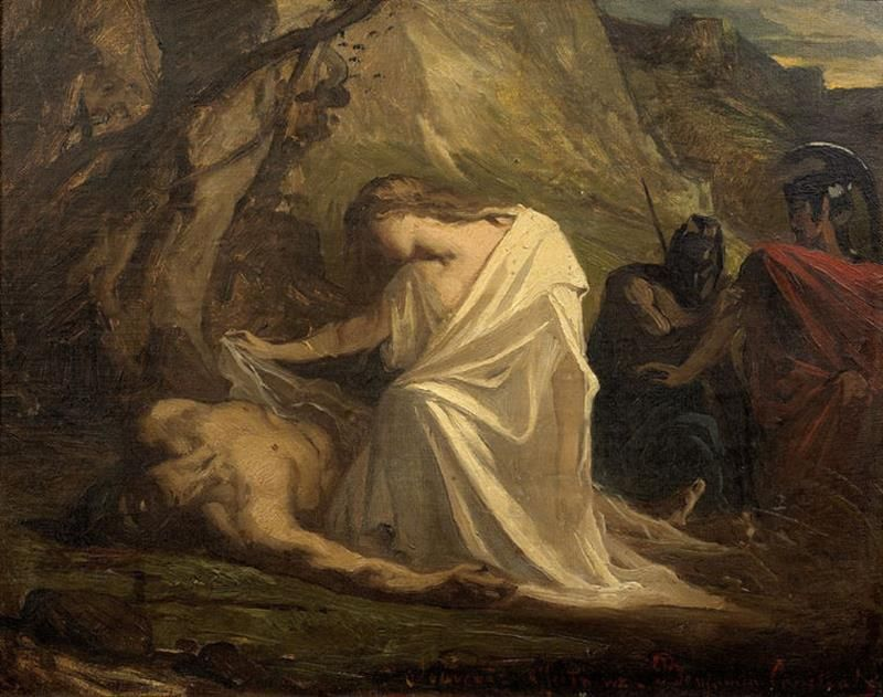 Jean-Joseph Benjamin-Constant, Antigone presso il corpo di Polinice, 1868. Photothèque Musée des Augustins - Public Domain via Wikimedia Commons.