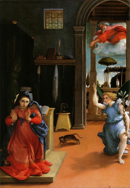 Lorenzo Lotto, Annunciazione, 1534-1535, Recanati, Pinacoteca Civica, Villa Colloredo Mels - Public Domain via Wikipedia Commons