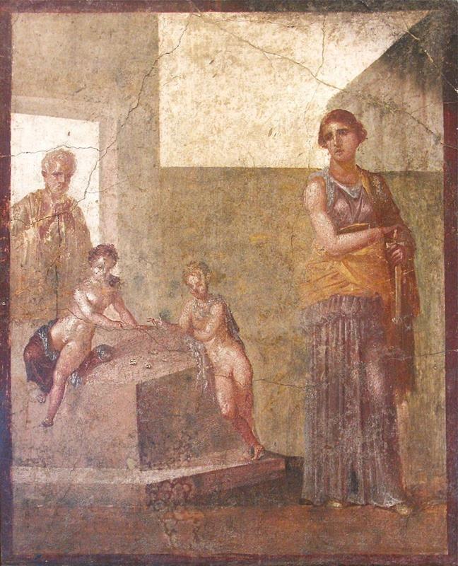 Medea prima dell'assassinio dei figli, Affresco da Pompei, casa dei Dioscuri, - Public Domain via Wikimedia Commons.