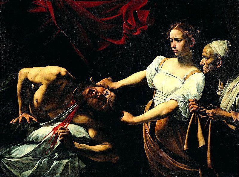 Michelangelo Merisi da Caravaggio - Giuditta e Oloferne , Galleria nazionale di arte antica, Roma - Public Domain via Wikimedia Commons.