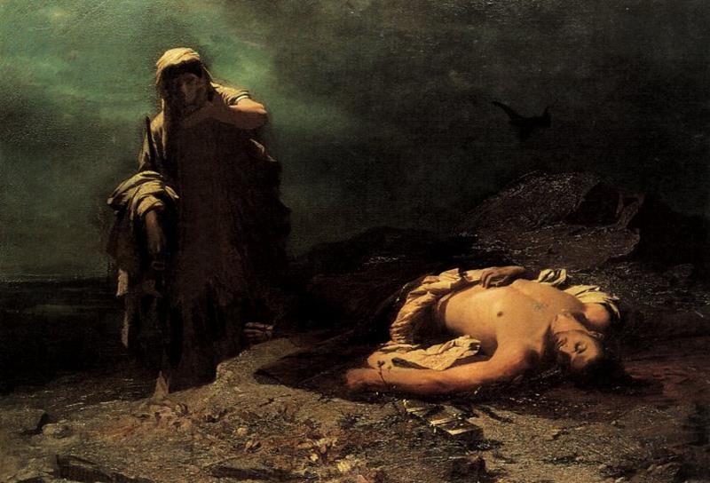 Nikiforos Lytras - Antigone in front of dead Polynikes (1865), National Gallery of Athens - Public Domain via Wikimedia Commons.