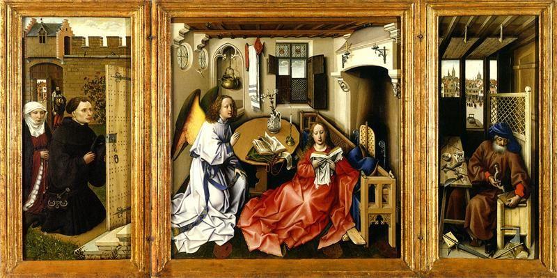 Robert Campin, L'Annunciazione. Trittico di Mérode, 1427, Metropolitan Museum New York - Public Domain via Wikipedia Commons