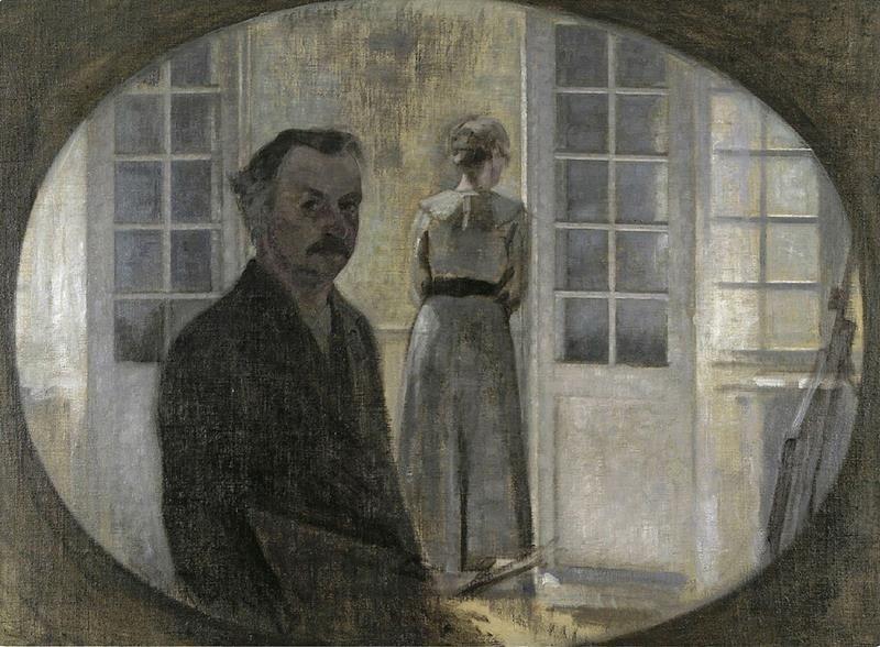 Vilhelm Hammershøi, Double portrait of the artist and his wife by Vilhelm Hammershøi,1908 - Public Domain via Wikipedia Commons