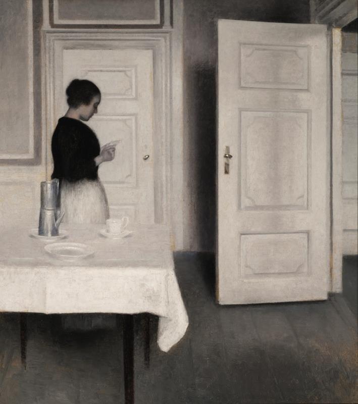 Vilhelm Hammershøi, Ida Reading a Letter, 1899 - Public Domain via Wikipedia Commons