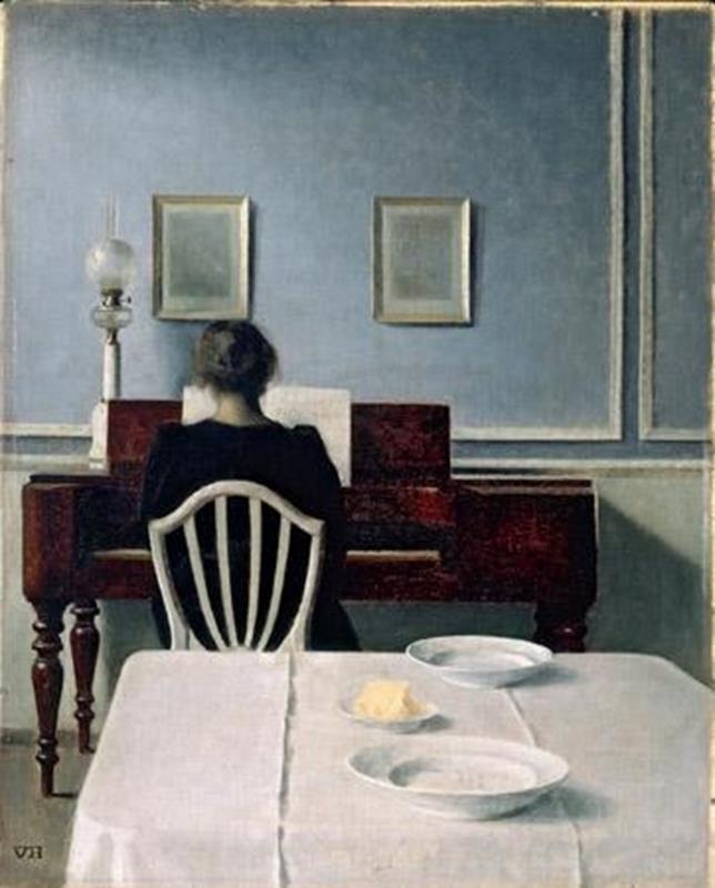 Vilhelm Hammershøi, Intérieur avec piano et femme vêtue de noir, 1901, Ordrupgaard museum de Copenhague - Public Domain via Wikipedia Commons