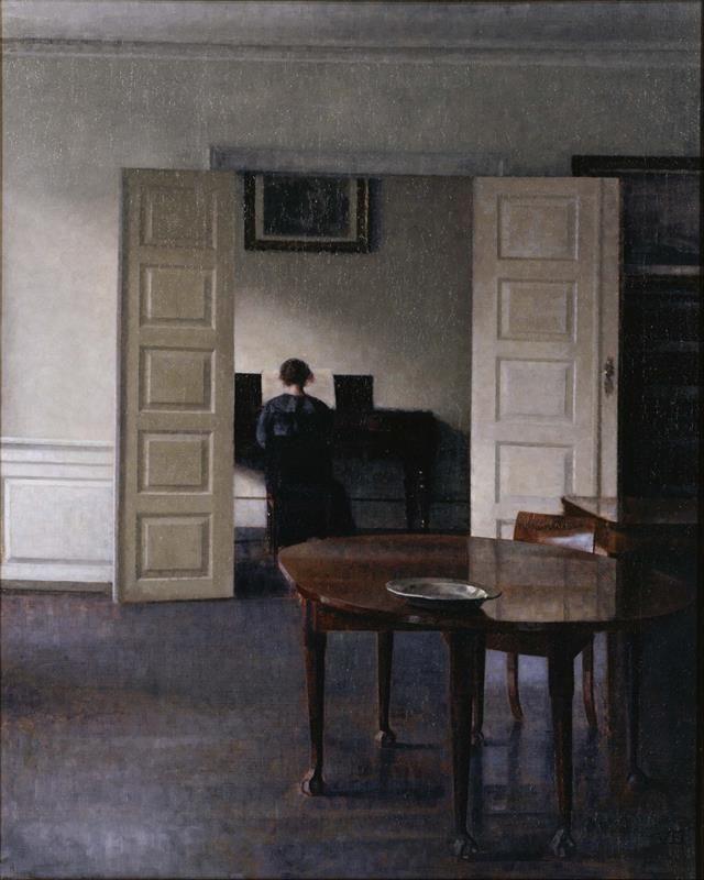 Vilhelm Hammershøi - Interior with Ida Playing the Piano - Public Domain via Wikipedia Commons