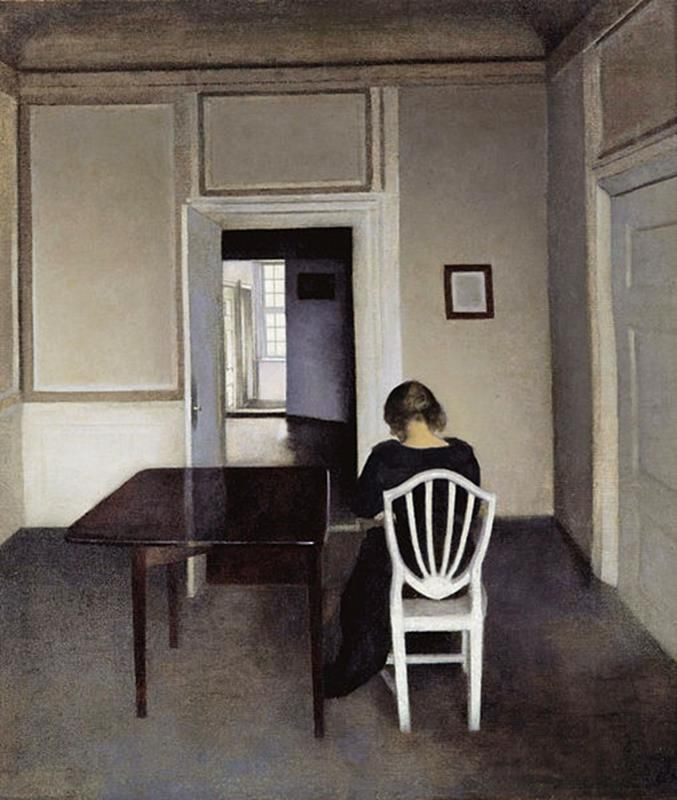 Vilhelm Hammershøi, Interior with Ida in a White Chair - Public Domain via Wikipedia Commons