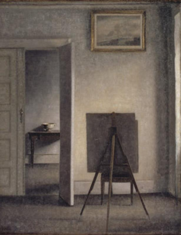 Vilhelm Hammershøi, Interior with the Artist's Easel, 1910 - Public Domain via Wikipedia Commons