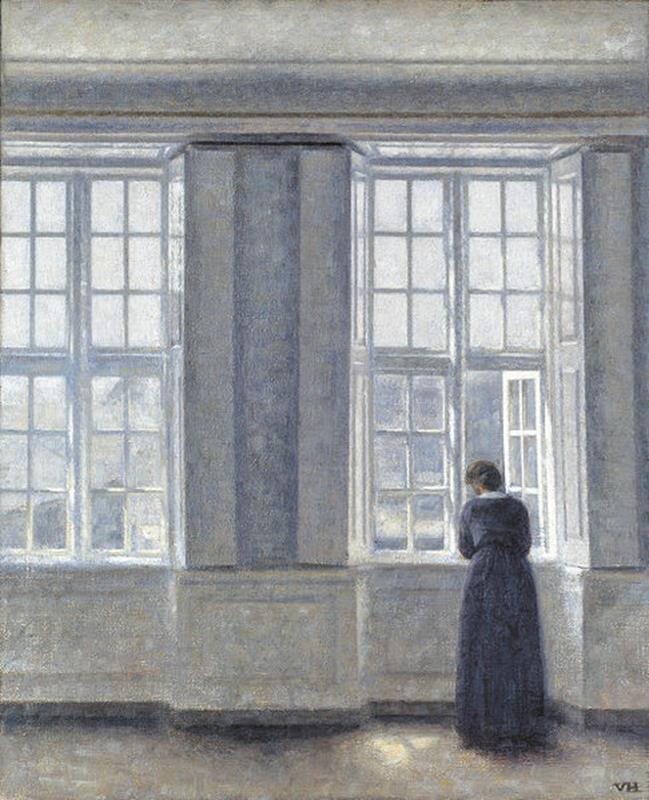 Vilhelm Hammershøi,The Tall Windows 1913 - Public Domain via Wikipedia Commons
