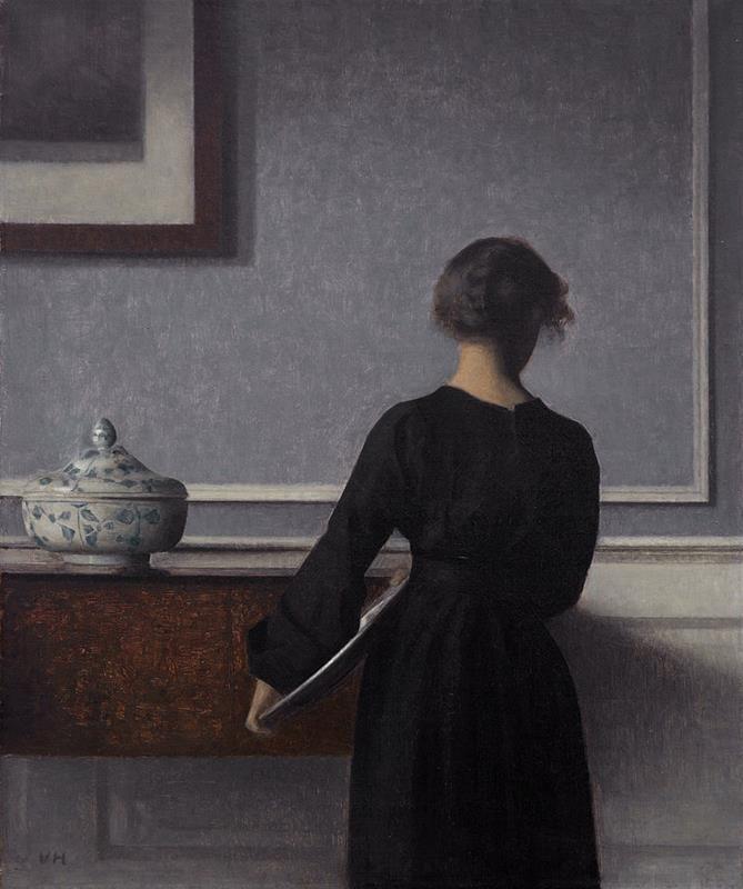 Vilhelm Hammershoi, Interieur mit Rueckenansicht einer Frau, 1903-1904, Randers Kunstmuseum - Public Domain via Wikipedia Commons