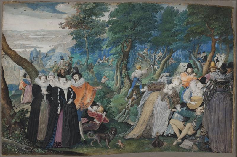 Isaac Oliver, Scena allegorica che contrappone vizi e virtù, 1590-95 (public domain, via Wikimedia Commons).