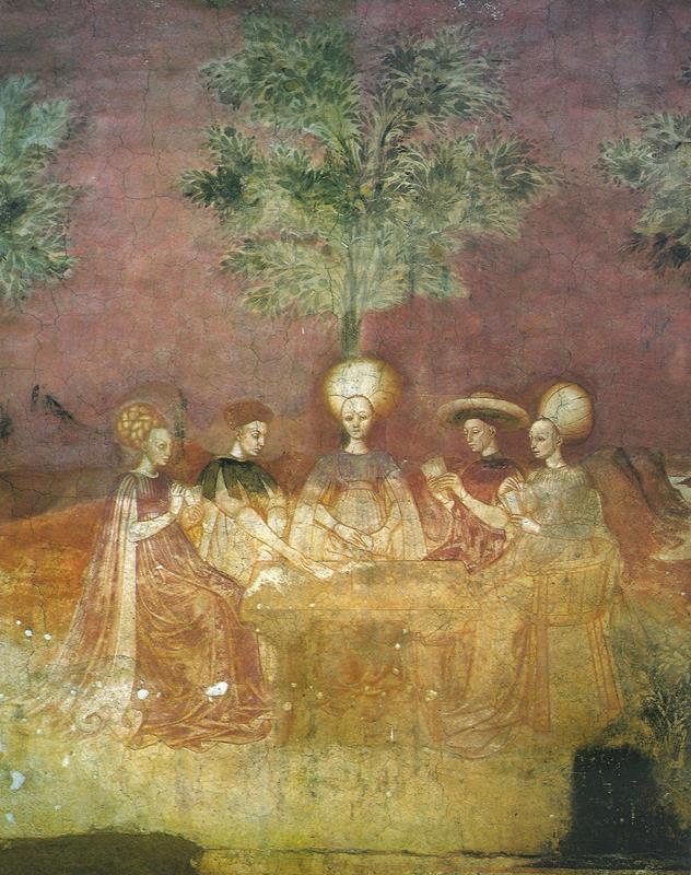 Giocatori di tarocchi, affresco in casa Borromeo, Milano, 1440 ca. (public domain, via Wikimedia Commons).