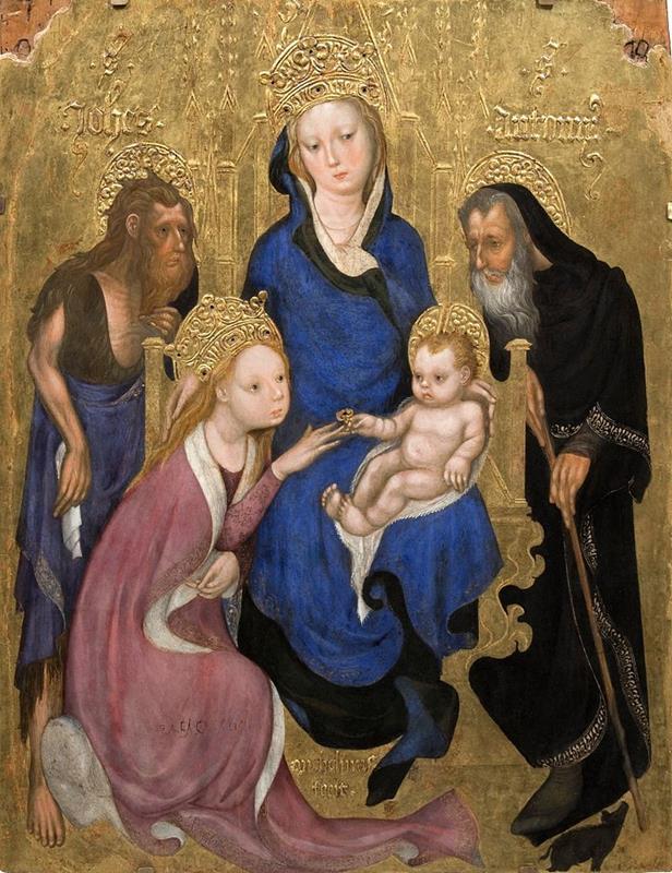 Michelino da Besozzo, Sposalizio mistico di santa Caterina, 1420 ca. (public domain, via Wikimedia Commons).