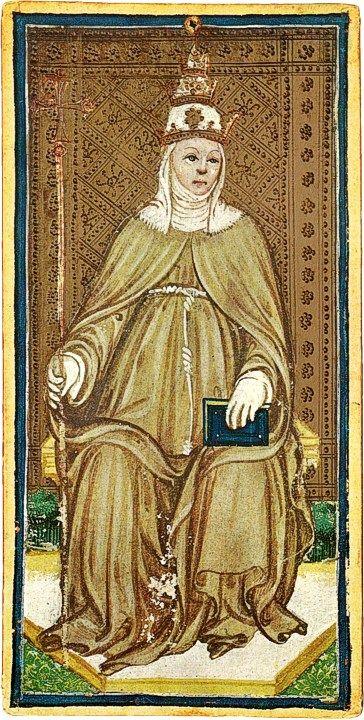 La Papessa del mazzo Pierpont-Morgan (public domain, via Wikimedia Commons).