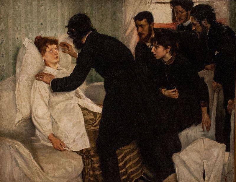 Richard Bergh, Seduta di ipnosi, 1887 (public domain, via Wikimedia Commons). I primi studi sull'ipnosi risalgono alla prima metà dell'Ottocento.