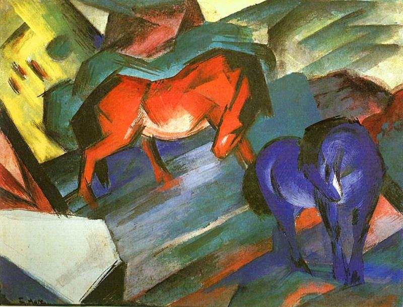 Franz Marc, Red an blue horses, 1912 - Public Domain via Wikipedia Commons.