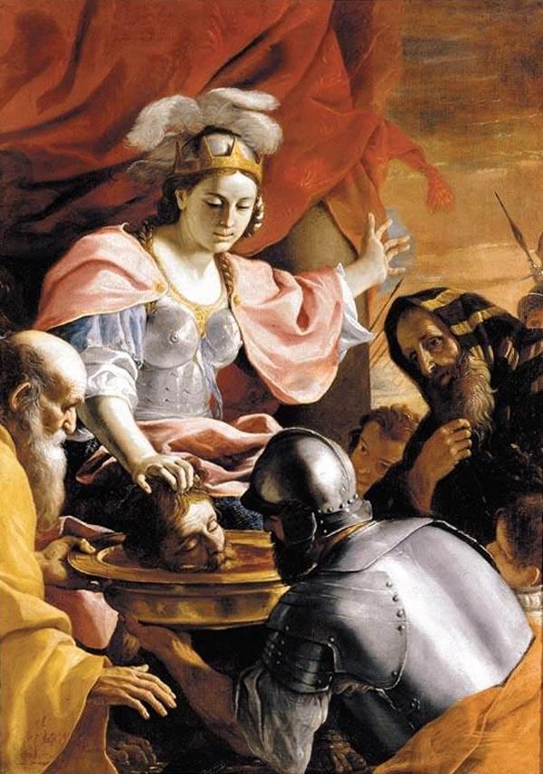 Mattia Preti, La regina Tomiri riceve la testa di Ciro, 1670-72, collezione privata (public domain, via Wikimedia Comons).