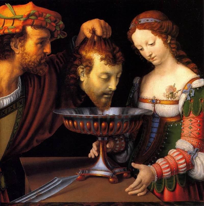 Andrea Solario, Salomè con la testa del Battista, 1520-24, Kunsthistorisches, Vienna (public domain, via Wikimedia Comons).