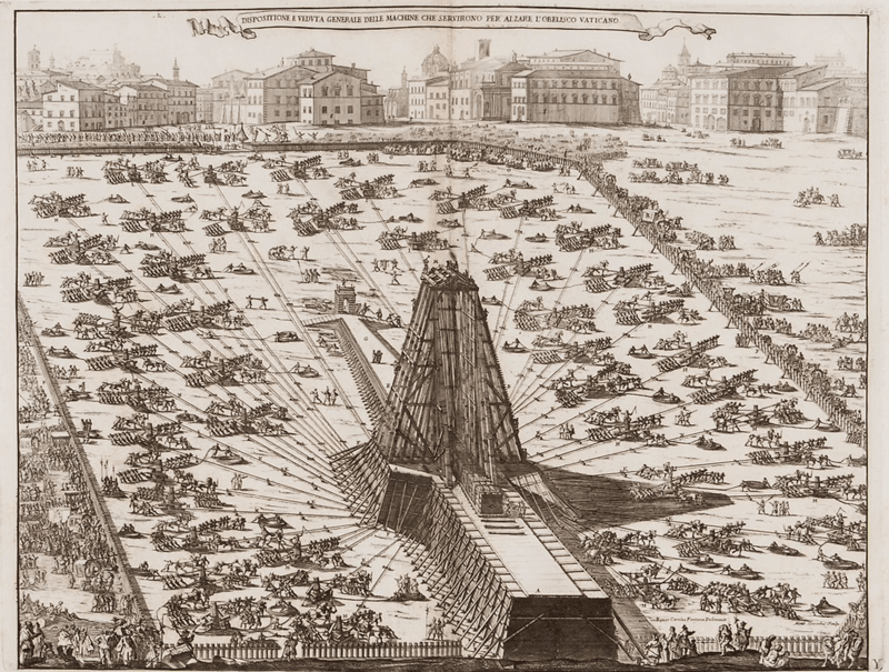 Alzare l'Obelisco Vaticano - By Niccola Zabaglia (1664-1750) [Public domain], via Wikimedia Commons