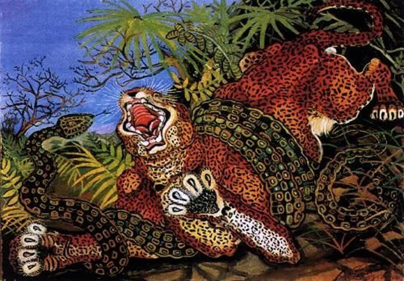 Antonio Ligabue, Leopardo con serpente, 1952 - Pinterest