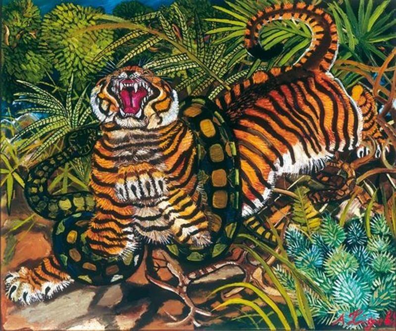 Antonio Ligabue, Tigre assalita dal serpente, 1952 - Pinterest