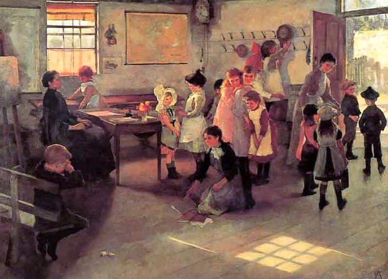 Elizabeth Adela Forbes, La scuola è finita, 1889 (public domain, via Wikimedia Commons)