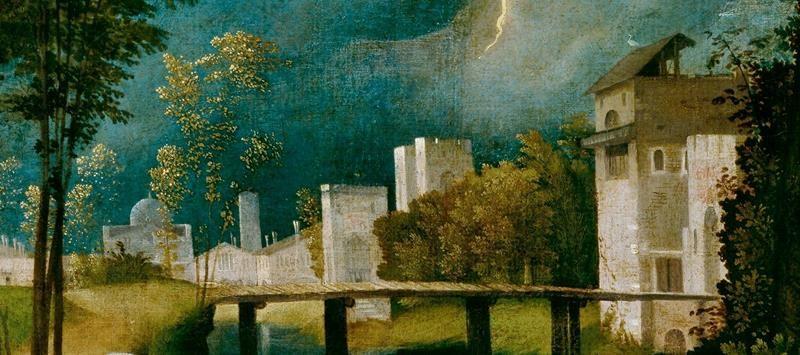Giorgione, La Tempesta - Dettaglio - Città