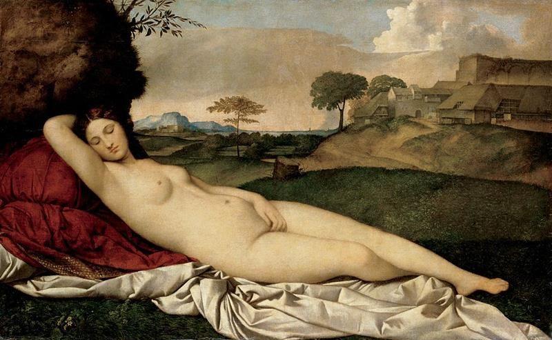 Giorgione, Venere dormiente, 1507-10 ca., Gemäldegalerie di Dresda - Public Domain via Wikipedia Commons