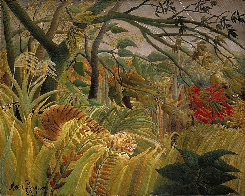 Henri Rousseau, Tigre in una tempesta tropicale, 1891 - Public Domain via Wikipedia Commons