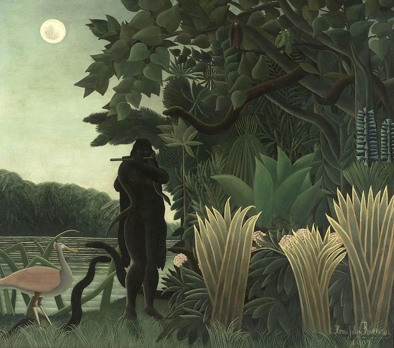 Henri Rousseau, detto il Doganiere, L'Incantatrice di serpenti, 1907, Parigi, Musée D'Orsay - Public Domain via Wikipedia Commons