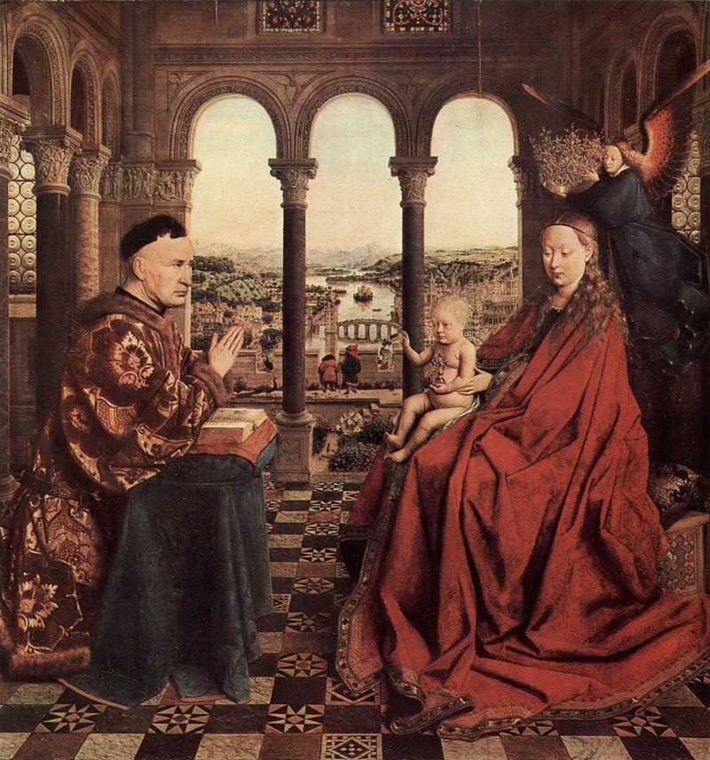Jan van Eyck, Madonna del cancelliere Rolin, 1435 ca., Museo del Louvre, Parigi - Public Domain via Wikipedia Commons
