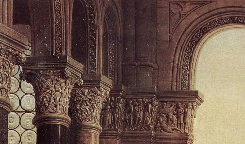 Jan van Eyck, Madonna del cancelliere Rolin - Capitelli-