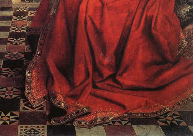 Jan van Eyck, Madonna del cancelliere Rolin - Mantello