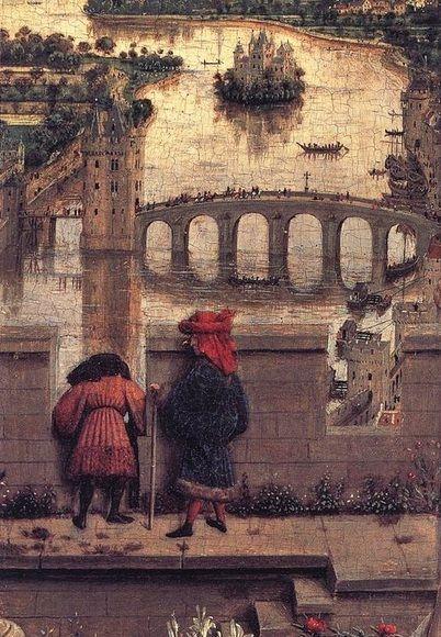 Jan van Eyck, Madonna del cancelliere Rolin - Vedette e ponte