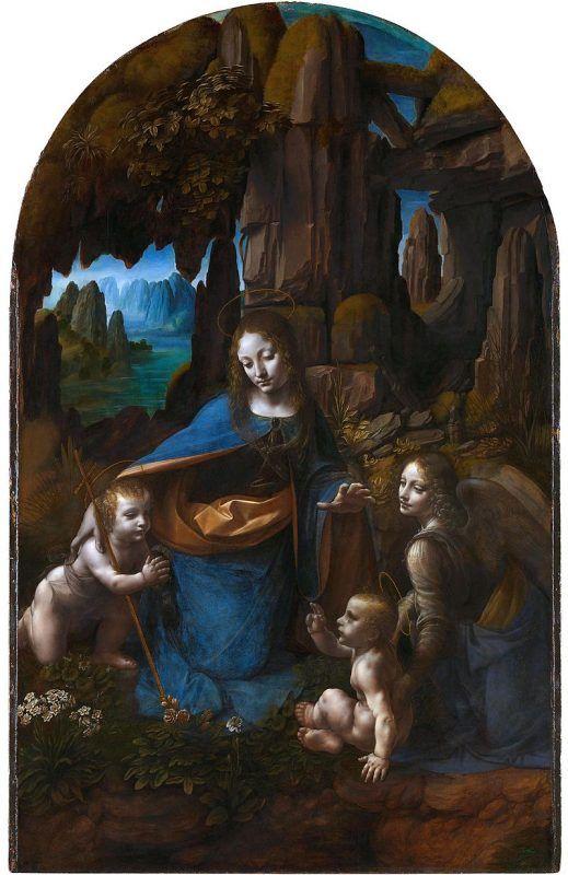 Leonardo da Vinci, Vergine delle Rocce, 1491-99 e 1506-08, National Gallery Londra - Public Domain via Wikipedia Commons