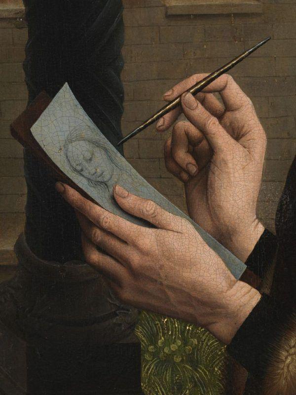 Rogier van der Weyden, San Luca dipinge la Vergine, 1435 ca., Museum of Fine Arts di Boston - Derttaglio
