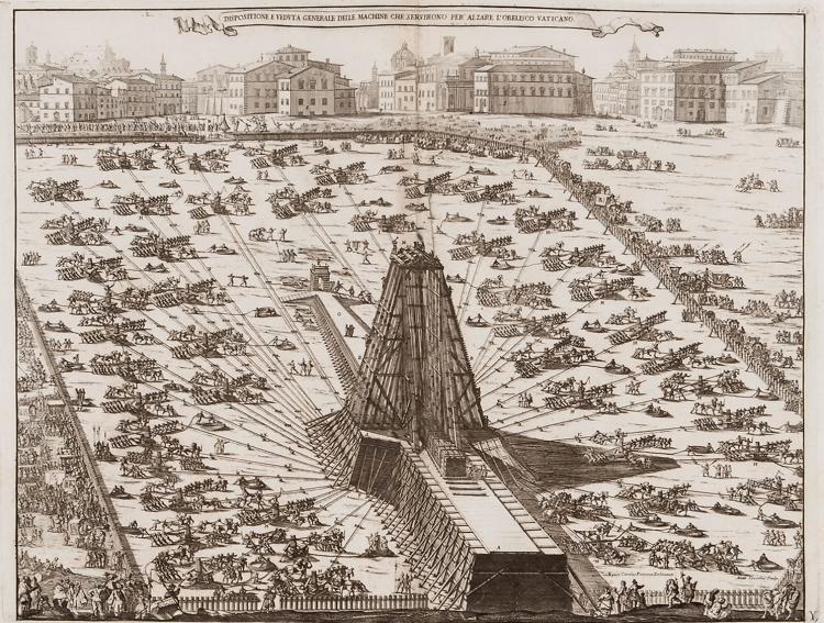 SPIEDINI D'EGITTO - Alzare l'Obelisco Vaticano - By Niccola Zabaglia (1664-1750) [Public domain], via Wikimedia Commons