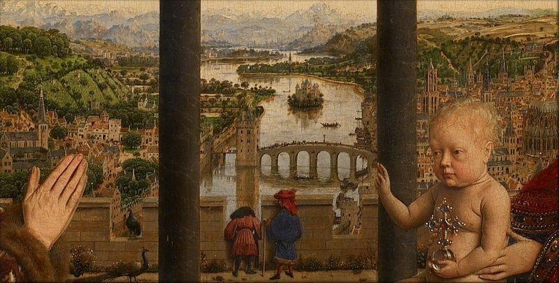 Jan van Eyck, Madonna del cancelliere Rolin - Paesaggio