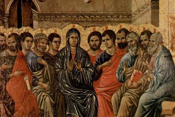 Guglielma la Boema - Duccio di Buoninsegna, Pentecoste, 1308 (public domain, via Wikimedia Commons).