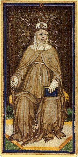 Bonifacio Bembo, Papessa dei Tarocchi Pierpont-Morgan (o Tarocchi dei Visconti). Oltre all'insegne papali, è interessante che sia vestita come una suora (public domain, via Wikimedia Commons).