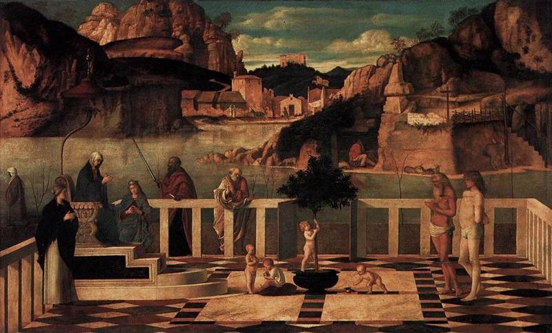 Giovanni Bellini, Allegoria sacra, 1490-1500, Galleria degli Uffizi, Firenze - Public Domain via Wikipedia Commons