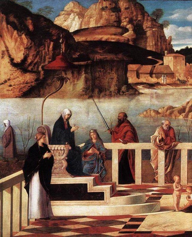 Giovanni Bellini, Allegoria sacra, particolare di sinistra