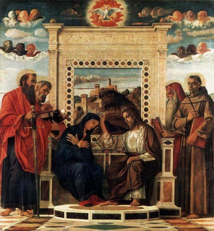 Giovanni Bellini, Incoronazione della Vergine, 1471-83, Musei civici, Pesaro - Public Domain via Wikipedia Commons