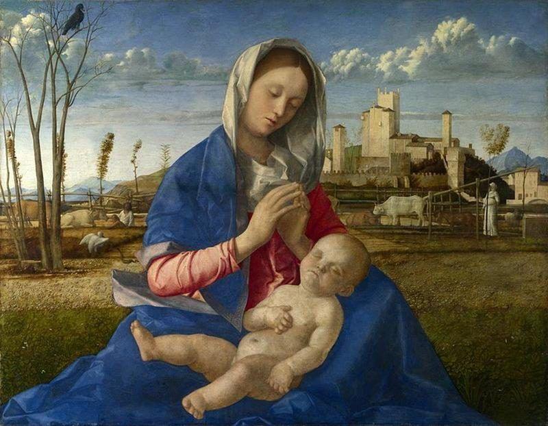 Giovanni Bellini, Madonna del prato, 1505 ca., National Gallery di Londra - Public Domain via Wikipedia Commons
