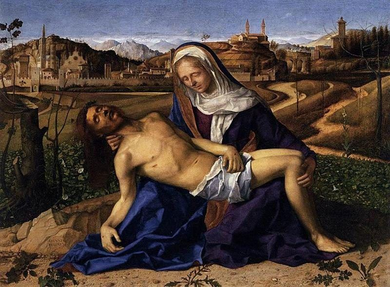Giovanni Bellini, Pietà Martinengo, 1505 ca., Gallerie dell'Accademia, Venezia - Public Domain via Wikipedia Commons