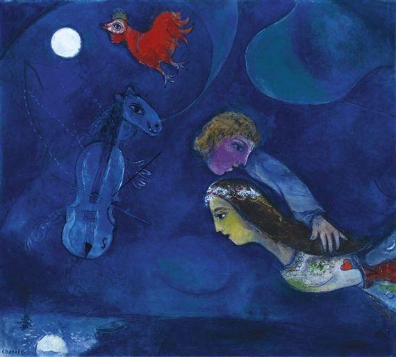 Marc Chagall, Coq rouge dans la nuit, 1944 - Pinterest