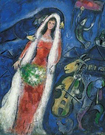 Marc Chagall, La Mariée, 1950 - Pinterest.