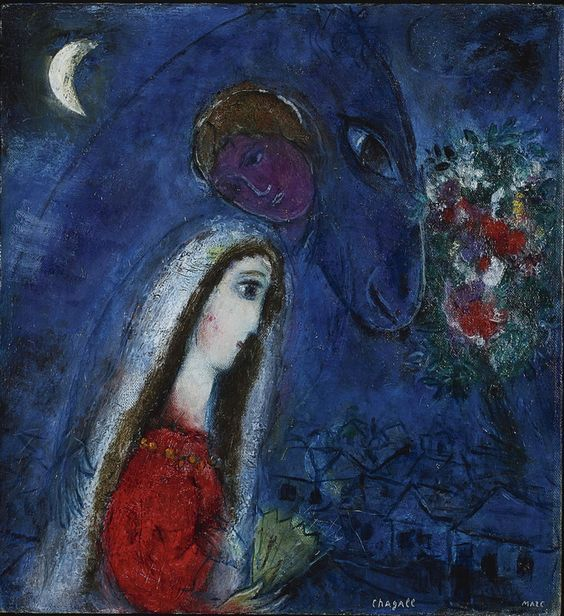 Marc Chagall, La fiancée revant, 1952 - Pinterest.
